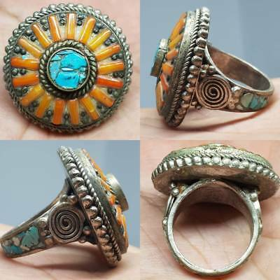Moroccon Old Wonderful Coral & Turquoise stone inlaid Lovely Ring     # 4G