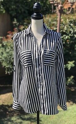 MY MICHELLE Black White Striped Button Up Career Blouse Size Large