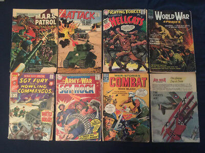 Silver Age Lot of 8 War Comics - Sgt Rock, Sgt Fury, Our Fighting Forces...etc