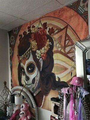 Day Of The Dead Sugar Skull Face Paint Women Anime Wall Hanging Large Original
