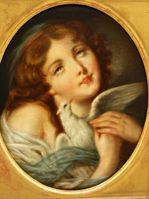 LARGE 19th Century PORTRAIT STUDY YOUNG GIRL WITH DOVE Antique Oil Painting