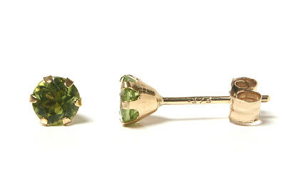 9ct Gold Peridot 4mm round Stud earrings Gift Boxed Made in UK Christmas Xmas
