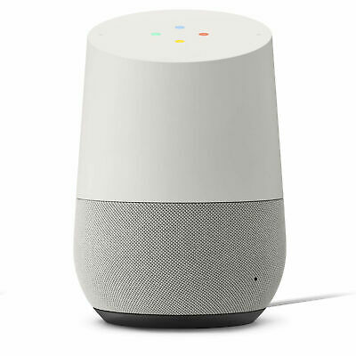 Google-Home Voice Activated Speaker- White/Slate, Used item PLEASE SEE PICTURE.