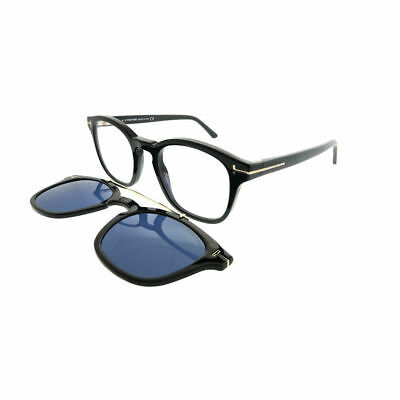 48ecffdd784 Tom Ford FT 5532B 01V Black Sunglasses Blue Block Clear With Blue Clip on  Lens