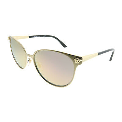 Versace VE 2168 13394Z Brushed Pale Gold Round Sunglasses Rose Gold Mirror Lens
