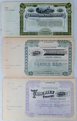 3 Railway Company's Unissued Capital Stock w/Ledgers:Allegheny,United,Troy Hill