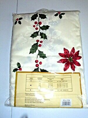 Bea At Home Christmas Poinsettia Damask Tablecloth NEW 60 x 104