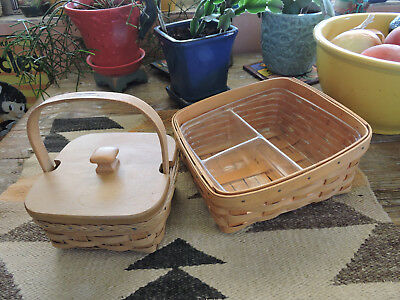 2-Two Vintage Longaberger Baskets With Lid And Liners