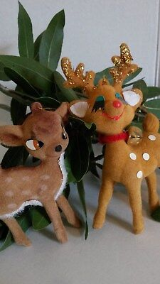 Bambi Vntg Disney Collectible Flocked Deer Christmas Ornaments Lot of 2