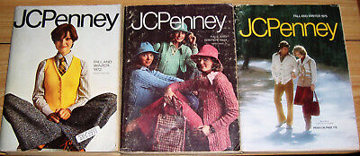 THREE (3) JC PENNEY FALL & WINTER CATALOGS -  1972, 1974 and 1975 BIG BOOKS NICE