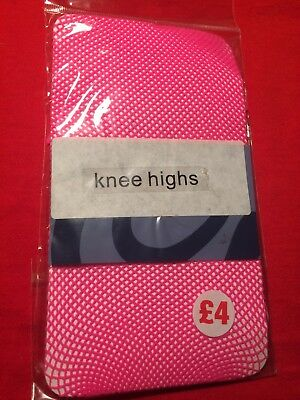 Claire's Pink Fishnet Knee Highs. One Size. NWOT