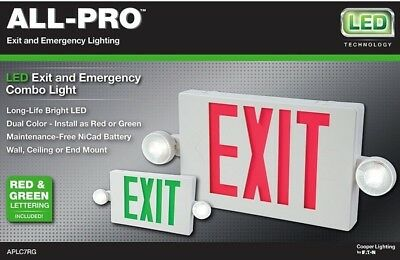 All Pro LED Emergency Exit Dual Color Light APLC7RG Hardwire Wall Ceiling Mount