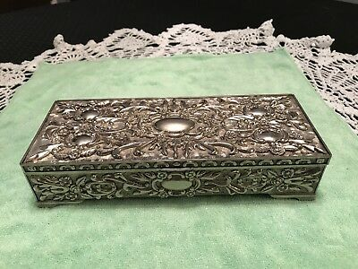 Antique Vintage Silver Plate Victorian Style Jewelry Box