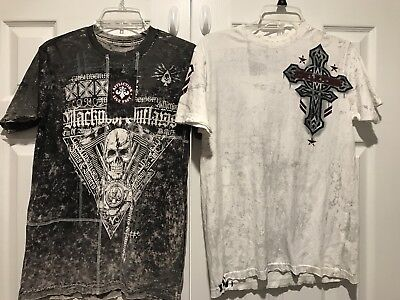 lot of 2 Affliction shirts size Small 1 is NWT other is NWOT skull blackpool