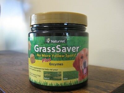 New! NaturVet GRASSSAVER Soft Chews Jar with Enzymes for Dogs 120 count