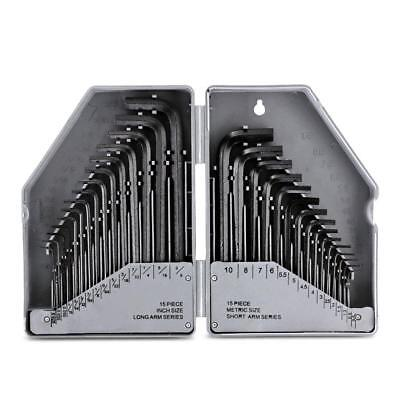 Flexzion Hex Key Wrench 30 PC Combo Set SAE/MM Metric Size Wrenches Long Short