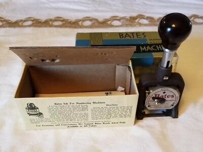 VINTAGE BATES NUMBERING MACHINE IN BOX 6 Wheel Style E STANDARD MOVEMENT