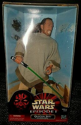 "STAR WARS Episode I The Phantom Menace 12"" 30cm QUI-GON JINN with Poncho HASBRO"