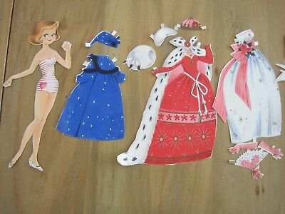 Vintage 1960's Paper Doll with Clothing & Accessories, Very Good Condition