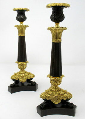 Exceptional Pair French Ormolu Patinated Bronze Candlesticks mid 19t SUPERB ITEM