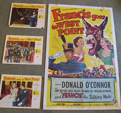 Francis Goes To West Point Donald O'connor Original 1952 1 Sheet & 3 Lobby Cards
