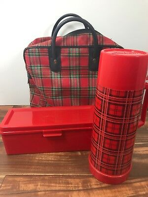 Aladdin Vintage Red Black Plaid Thermos Sandwich Box Well Bag Great Prop