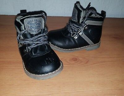 Baby Boy Next Black Leather Ankle Boots - Size UK 4 Infant/Kids