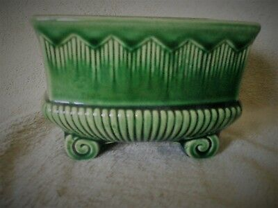 "1940's BRUSH - MCCOY POTTERY? ART DECO Style 6"" x 4-1/2"" x 4"" Green Planter"