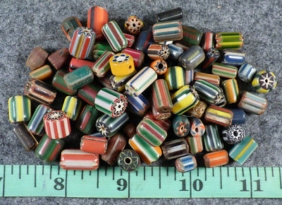 10 Old Hudson's Bay Comp. Chevron Trade Beads Good Patina & Nice Color Fur Trade