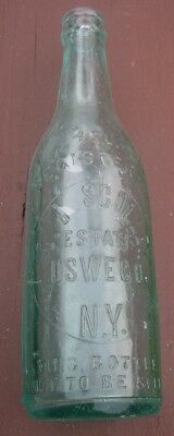 1900 Era C.J. Sculley Estate Oswego N.Y. Slug Plate Front Beer Bottle Crown Top
