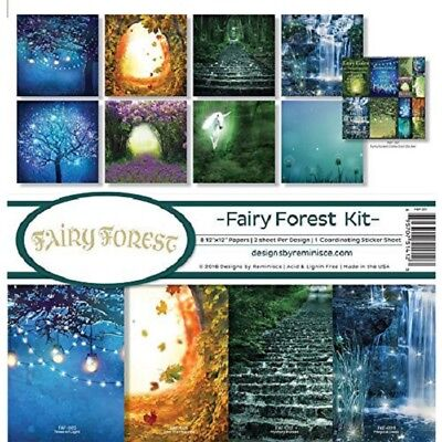 "Reminisce 'FAIRY FOREST KIT' 12x12"" Paper Pk + Stickers Fairies/Fantasy/Unicorn"
