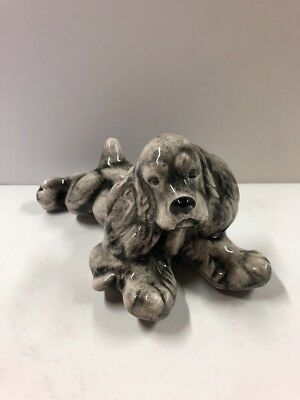 Porcelain Poodle Figurine Vintage Laying Down Puppy Dog