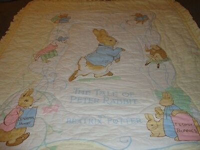 Vintage Baby Quilt 'The Tale Of Peter Rabbit' by Beatrix Potter (1970's Era)  B4