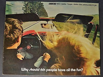 1971 Fiat 850 Catalog Brochure Sport Spider Coupe Sedan Excellent Original 71