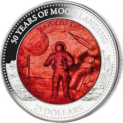 2019 25$ Mother Of Pearl, MOON LANDING 50TH ANNIVERSARY 5 Oz Silver Coin