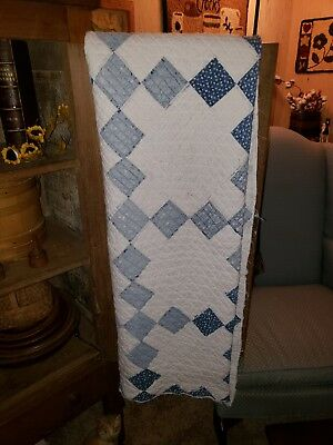 Antique Primitive Blue And White Calico Tattered Quilt Best AAFA