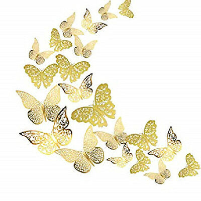 12pcs 3D Gold & Silver Butterfly Wall Stickers Art Decals Home Room Decorations