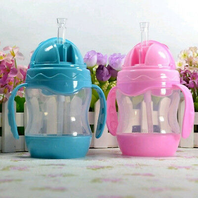 Straw Type Small Capacity 240ml Plastic With Handle Child Training Cup