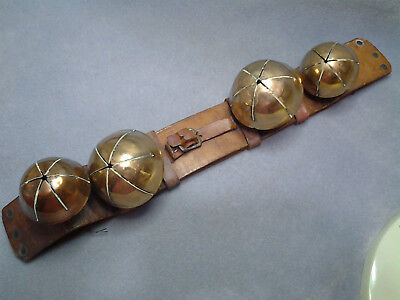 "Antique Set of 4 Large Brass Sleigh Bells-2 @ 3"" Dia. and 2 @ 2 1/4"" Dia."