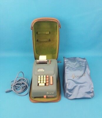 Vintage GENERAL GILBERT CORP. Model 408 Electric Adding Machine w/ Case Made USA