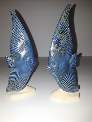 2 Ceramic Blue Angel Fish Table Top Decorative Figurines. 7 1/4 in. Bookends