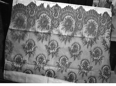 """Antique Black Lace. Chantilly Type?. Floral Design on Net. 2 yd. 26"""" W."""