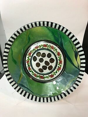 "MacKenzie Childs 10.5"" Plate Painted Glass Circus Roses"
