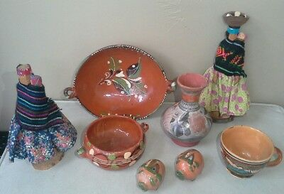 Vintage Mexican Pottery folk art Lot painted dish, cup, figures 7 pcs MEXICO