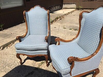 Vintage Carved Pair Of Wing Back Chairs