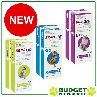 Bravecto Tick Flea 3 Month Spot On For Cats 4 Doses - All Sizes FREE SHIPPING