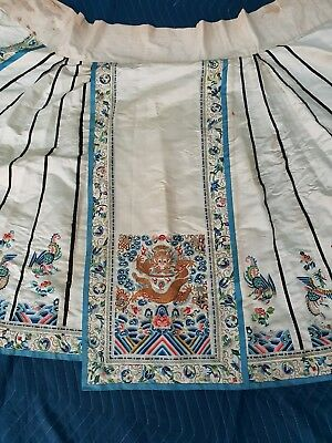 Mangificent Antique Chinese Skirt with Dragon And Phoenixs 91 In X 36 In NR