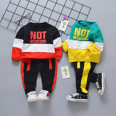 Toddler Baby Kids Boy Formal Suit Casual Clothes Long Sleeve Top+Pant Outfit Set