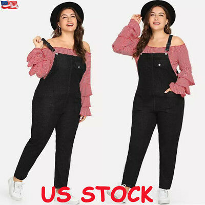 Womens Denim Jeans Pinafore Dungaree Overall Jumpsuit Pants Trousers Plus Size
