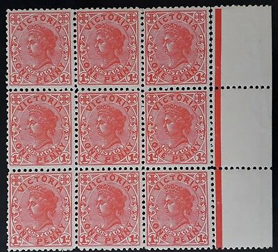 Rare 1905- Victoria Blk of 9X1d Rose Red Postage stamps Perf 11 WMK Crown/A Mint